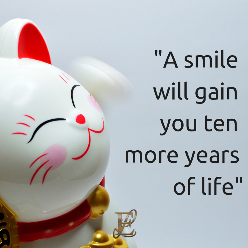 Esmie Lawrence, stress management, managing stress, podcast, esmie lawrence, freedom, negativity, 10 famous quotes, quotes, quotation, chinese new year, year of the pig, pig 2019, good fortune, chinese proverbs, A smile will gain you ten more years of life.